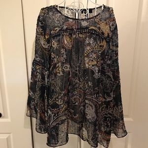 Style & Co sheer top with bell sleeve